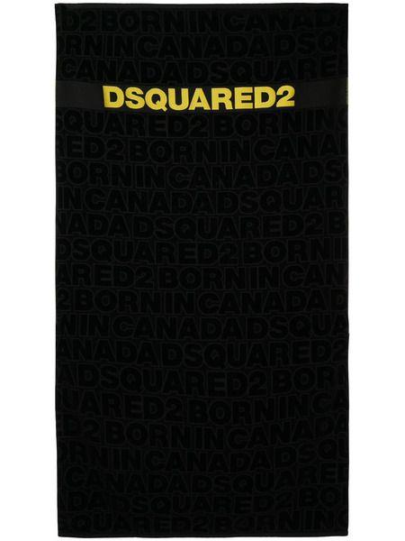 Черное пляжное полотенце с жаккардовым логотипом Dsquared2 фото