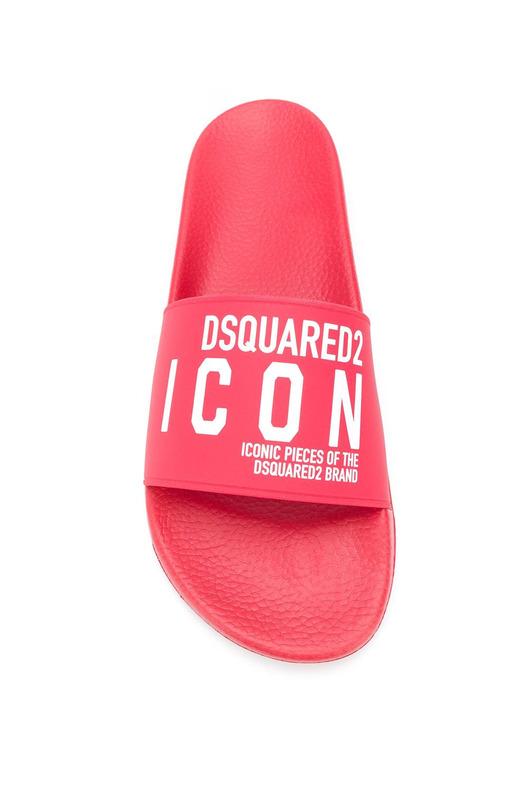 Красные шлепанцы Icon с логотипом Dsquared2, фото