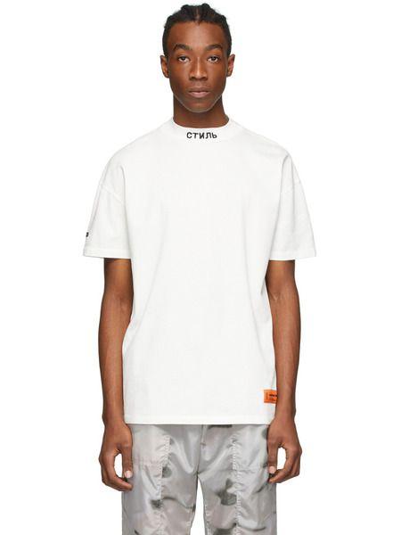 Белая футболка с вышитым логотипом СТИЛЬ Heron Preston фото