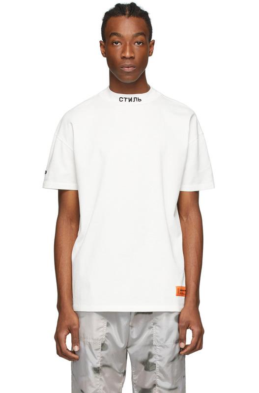 Белая футболка с вышитым логотипом СТИЛЬ Heron Preston, фото