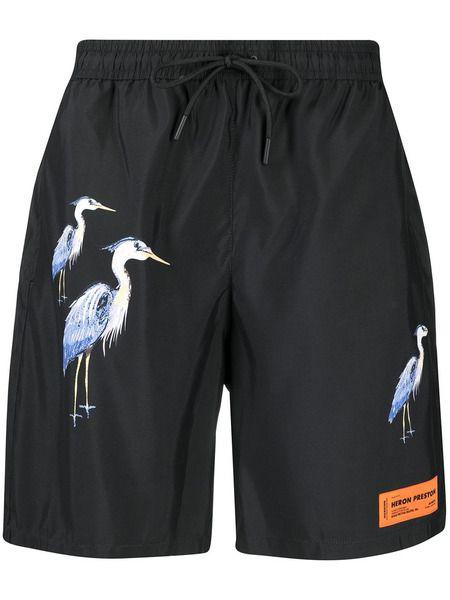 Плавки-шорты черного цвета с принтом Heron Preston фото