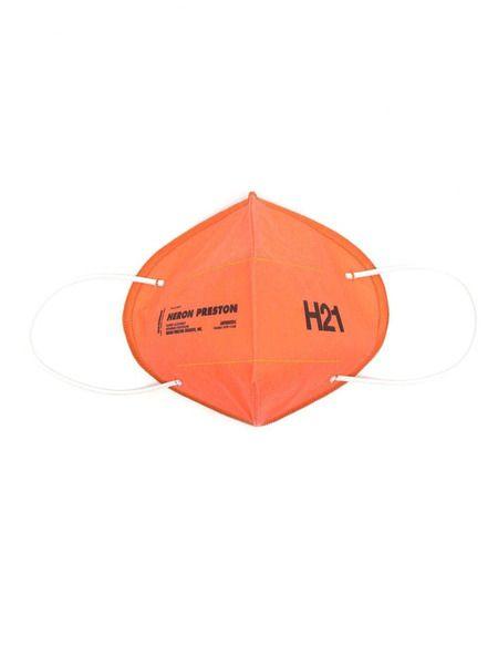 Оранжевая многоразовая маска с логотипом Heron Preston фото