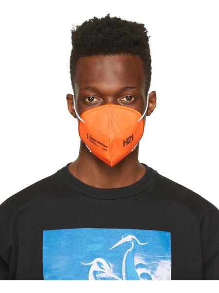 Оранжевая многоразовая маска с логотипом Heron Preston, фото