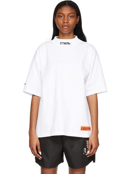 Белая футболка с воротником-стойкой СТИЛЬ Heron Preston фото