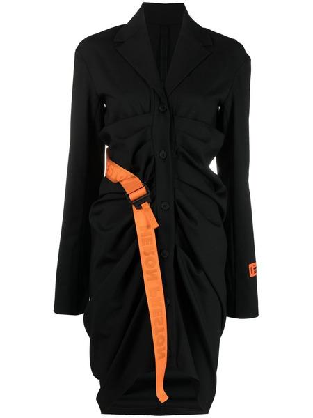 Черное платье-рубашка с длинными рукавами и поясом Heron Preston, фото