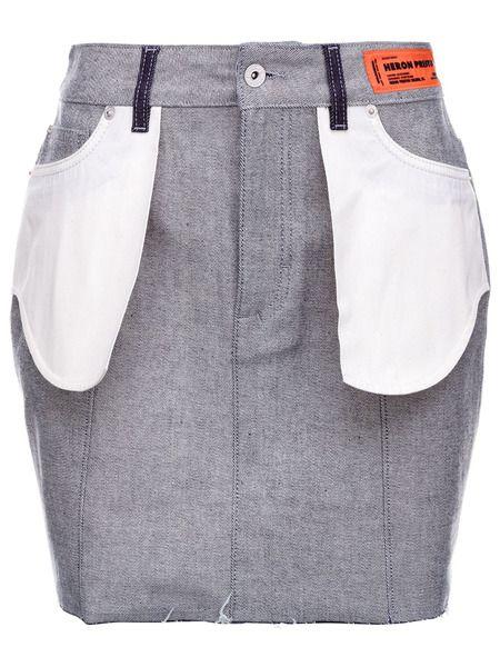 Джинсовая юбка с накладными карманами Heron Preston фото