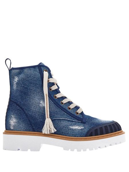 Джинсовые ботинки Combat на шнуровке Hogan, фото