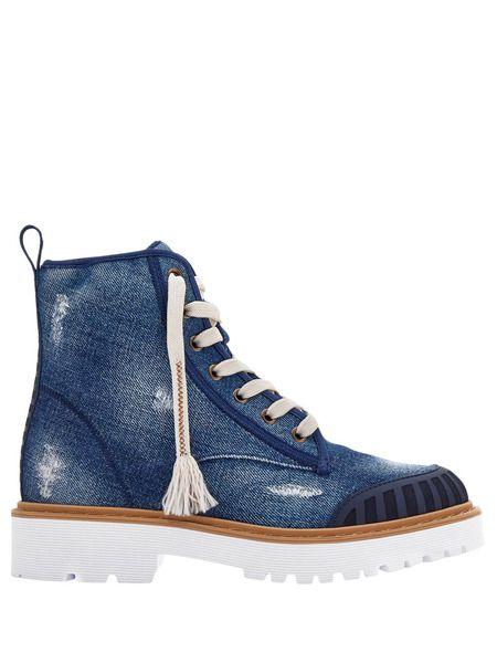 Джинсовые ботинки Combat на шнуровке