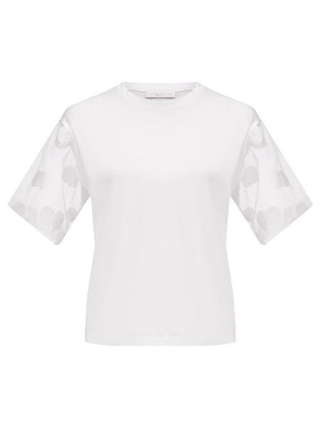 Белая футболка прозрачными рукавами Fabiana Filippi фото