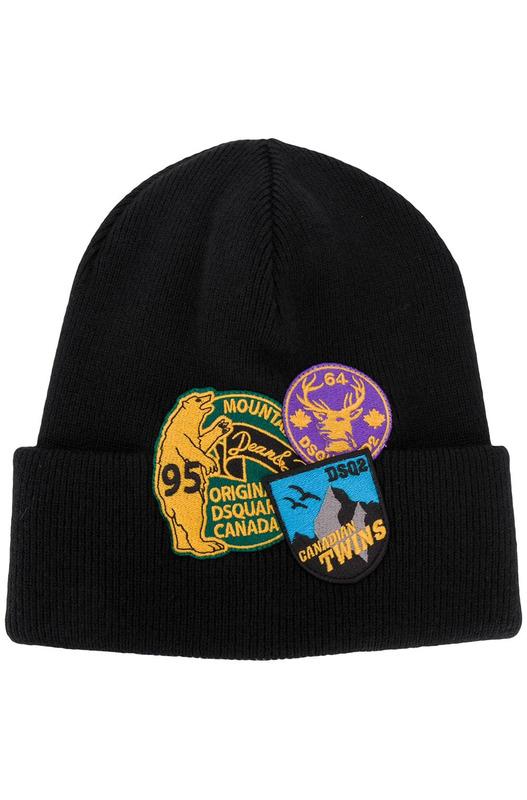 Черная шапка бини с нашивкой-логотипом Dsquared2, фото