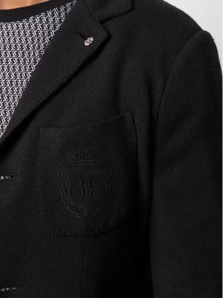 Черный пиджак узкого кроя с вышивкой