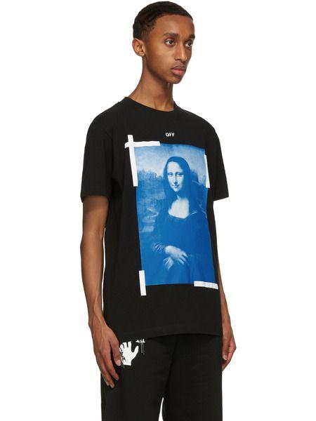 Черная футболка с принтом Моны Лизы