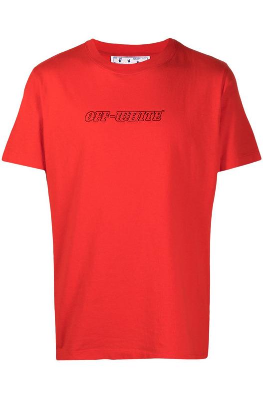 Красная футболка с графичным принтом Off-White, фото