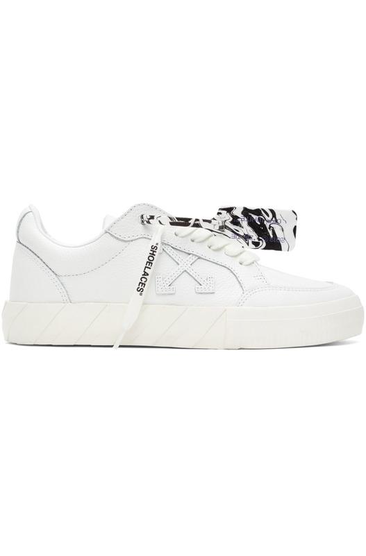 Белые кожаные низкие кеды на вулканизированной подошве Arrows Off-White, фото