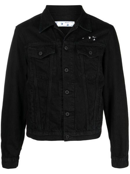 Черная джинсовая куртка с принтом Arrows Off-White фото