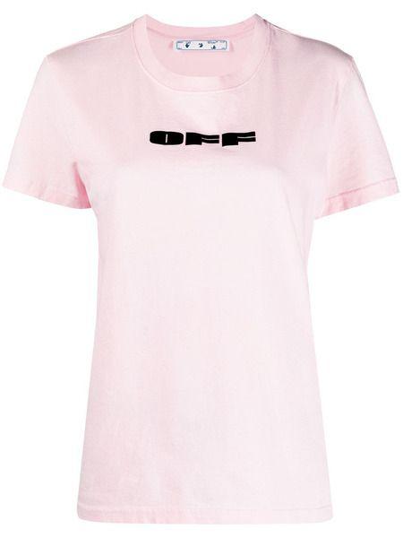 Розовая футболка с логотипом Off-White фото