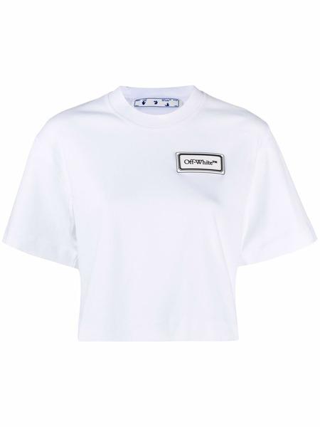 Белая укороченная футболка с нашивкой-логотипом Off-White, фото