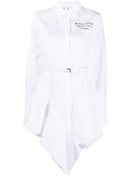 Белое платье-рубашка асимметричного кроя Off-White фото