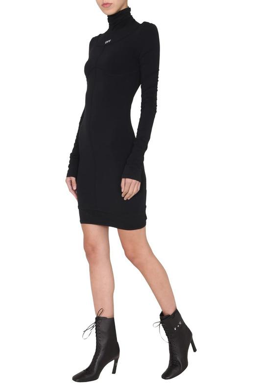 Черное облегающее платье под горло Off-White, фото