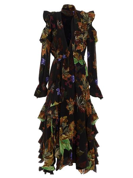 Длинное платье из шелка с цветным принтом Off-White, фото