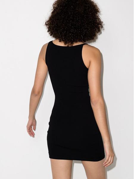 Черное платье-футляр в рубчик на бретельках Off-White, фото