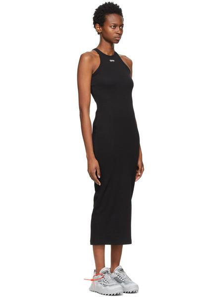 Черное приталенное платье миди Off-White, фото