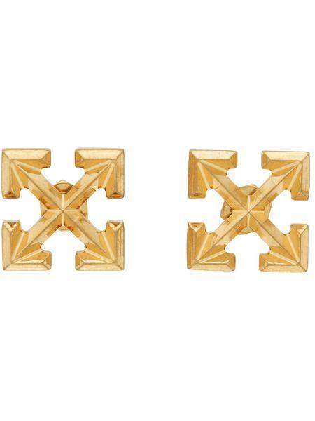 Золотые серьги-гвоздики Mini Arrow Off-White фото