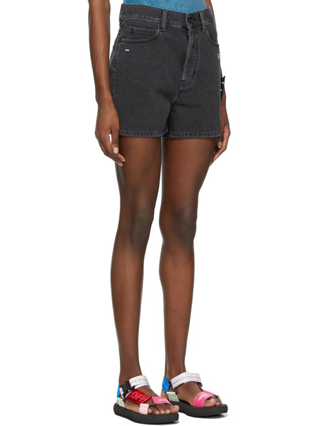 Черные джинсовые шорты средней посадки Off-White, фото
