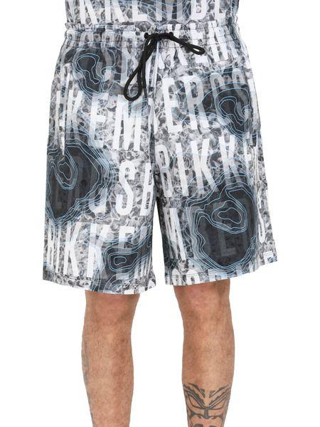 Серые шорты с принтом логотипа по всей длине Bikkembergs, фото