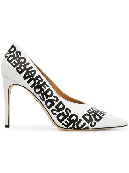 Белые туфли-лодочки с логотипом Dsquared2 фото