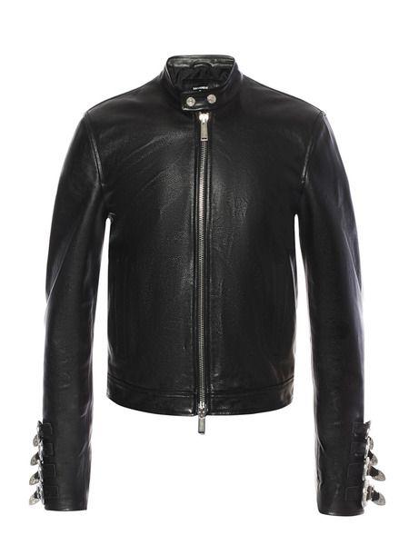 Кожаная куртка с металлическим декором на рукавах Dsquared2 фото