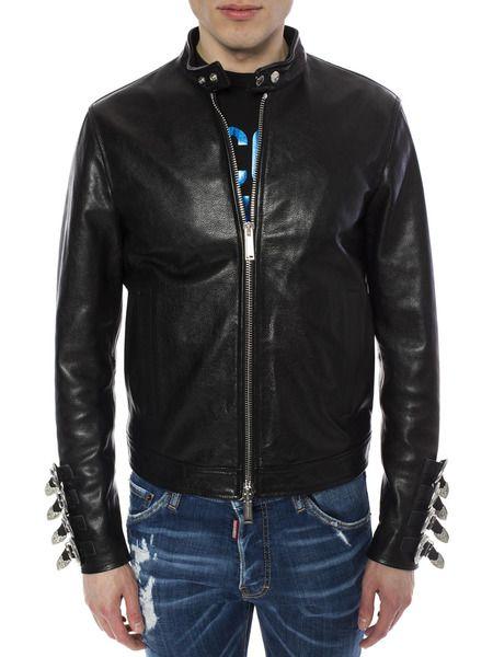 Кожаная куртка с металлическим декором на рукавах