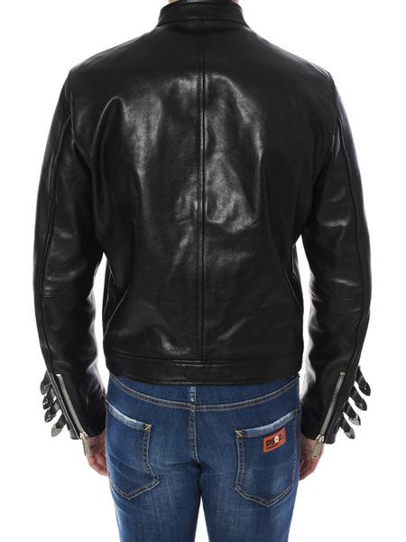 Кожаная куртка с металлическим декором на рукавах Dsquared2, фото