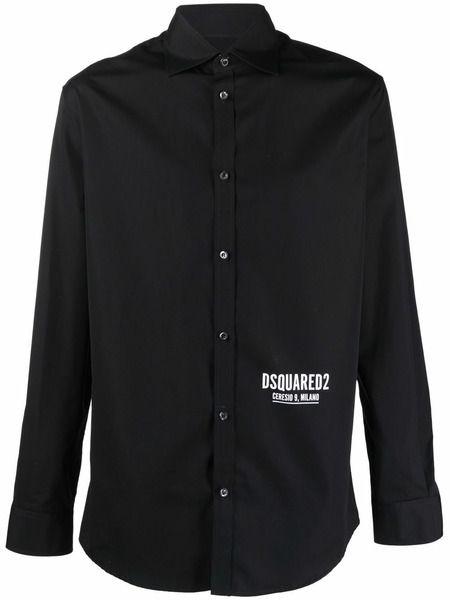 Черная рубашка с логотипом Dsquared2 фото