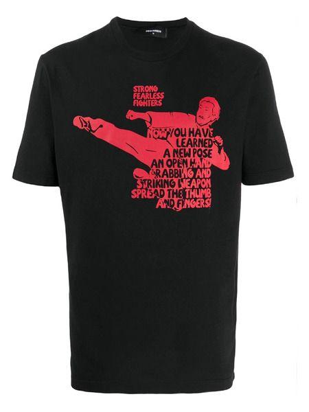 Черная футболка Bruce Lee с надписью Dsquared2 фото