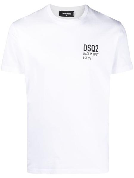 Белая футболка с логотипом Dsquared2 фото