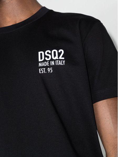 Черная футболка DSQ2 с принтом Made in Italy