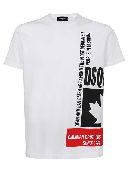 Мужская белая хлопковая футболка Dsquared2 фото
