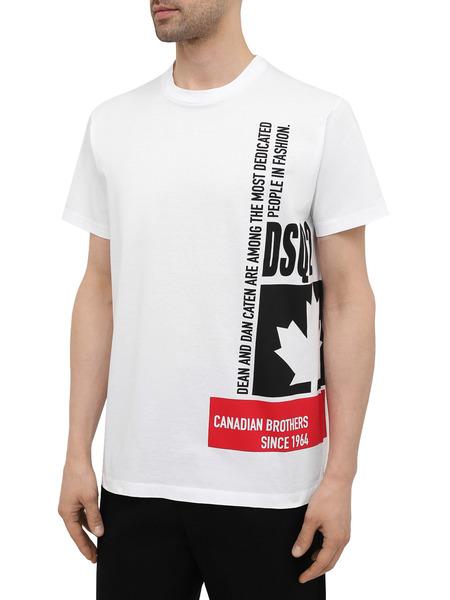 Мужская белая хлопковая футболка Dsquared2, фото