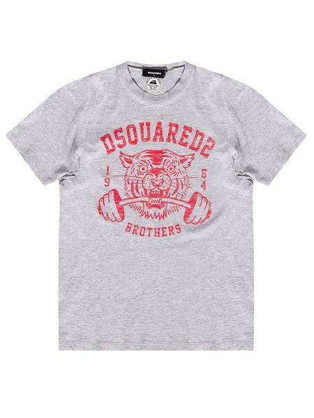 Серая футболка с принтом на груди Dsquared2, фото