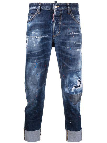 Мужские джинсы с подворотами и прорезями Dsquared2 фото