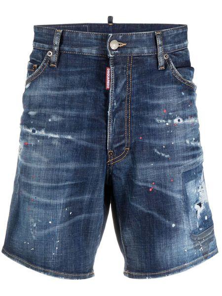 Джинсовые шорты с эффектом потертости Dsquared2 фото