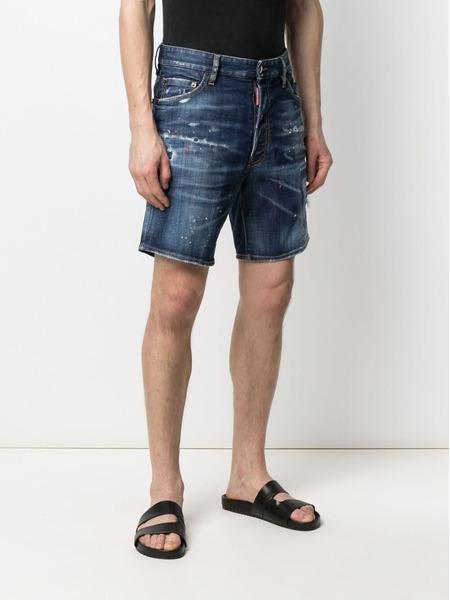 Джинсовые шорты с эффектом потертости Dsquared2, фото