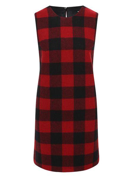 Шерстяное платье в клетку гингем Dsquared2 фото