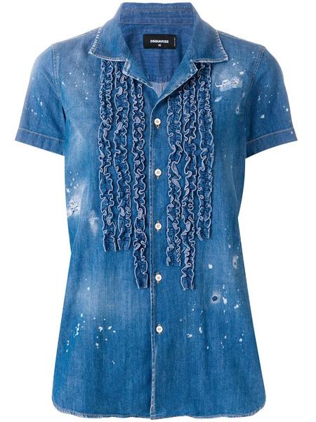Джинсовая рубашка с рюшами Dsquared2, фото