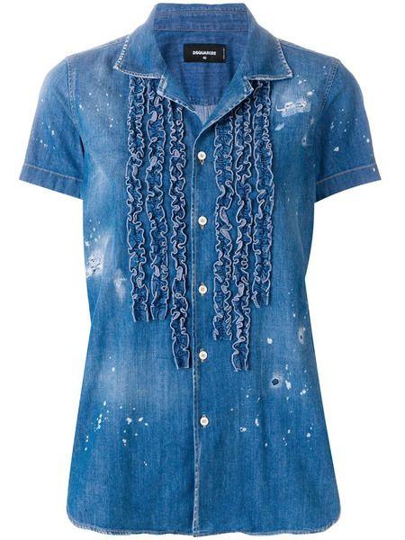 Джинсовая рубашка с рюшами Dsquared2 фото