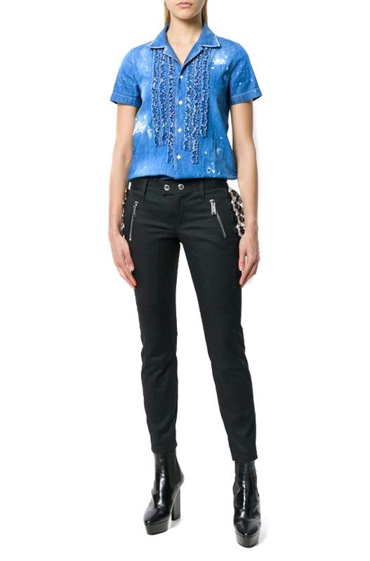 Джинсовая рубашка с рюшами Dsquared2
