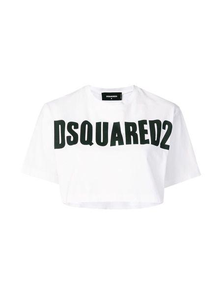 Укороченная футболка с принтом Dsquared2, фото