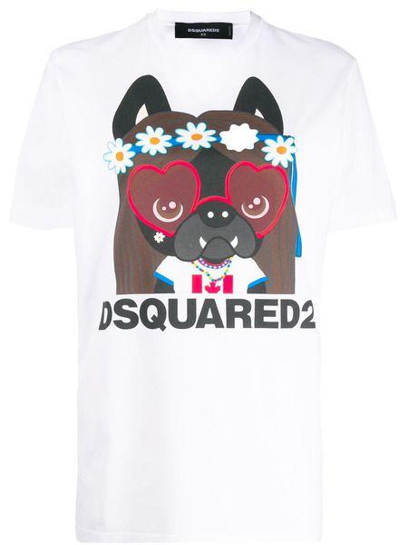 Белая футболка с графичным принтом Dsquared2 фото