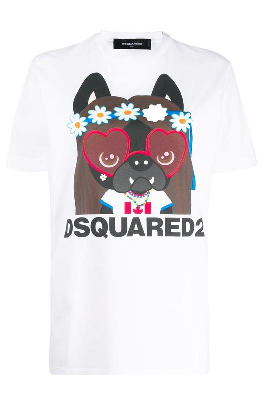 Белая футболка с графичным принтом Dsquared2, фото